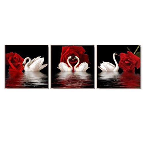 Swan Red Rose Dream Modern 3 Piece Canvas Prints Beautiful Flowers Stretched and Framed Pictures Paintings on Canvas Wall Art Work for Bedroom Home - Black Swans Pictures