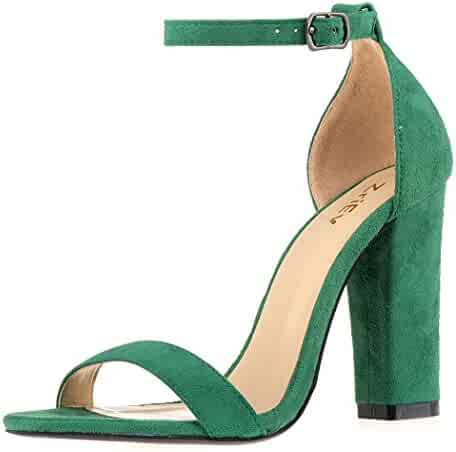 d81e7f71175ce ZriEy Women's Chunky Block Strappy High Heel Pump Sandals Fashion Ankle  Strap Open Toe Shoes