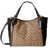 COACH 36370 Edie Handbag Shoulder Bag 28 in Signature Jacquard in Brown Khaki