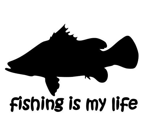 【オルルド釣具】フィッシングステッカー 「 fishing is my life (訳:釣りは我が人生!) アカメ ver.15×8.5cm 」 貼付用ヘラ付 クーラーボックス・車などのドレスアップに最適 釣りステッカー カーステッカー デカール シール 魚 ロゴ 文字 外装 デザイン モノクロ qb600019の商品画像