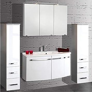 Badmöbel Set 4-teilig ○ Weiß Hochglanz ○ Badezimmer ...