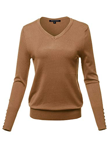 Womens V-neck Sweater Vest - Casual Premium Quality with Gold Button Stretchy V-Neck Sweater Top Coffee S