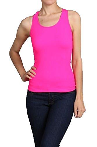 (Neon Seamless Basic Rib-Knit Racerback Tank Top One Size Athletic Sport T-Shirt (Neon Pink))