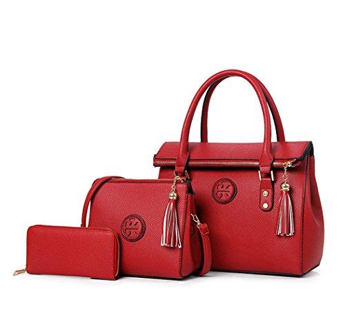 bolsos de 3pcs y Bolsos clutches Carteras mano hombro de y Mujer Burdeos Set bandolera Shoppers 8qwHTaxE