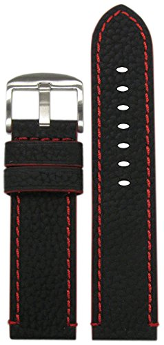 Black Crushed Leather (26mm Panatime Black Genuine Crushed Leather Grain Watch Band with Red Stitching and Siding 26/26 125/80)