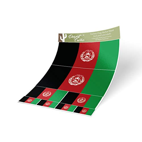 Desert Cactus Afghanistan Country Flag Sticker Decal Variety Size Pack 8 Total Pieces Kids Logo Scrapbook Car Vinyl Window Bumper Laptop Afghan V