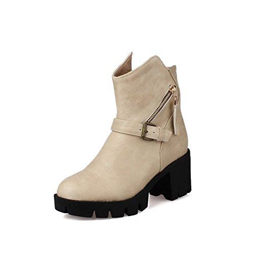 Women's Top Round Beige AgooLar Kitten Closed Toe Zipper Boots Low Heels PU SqSBCw