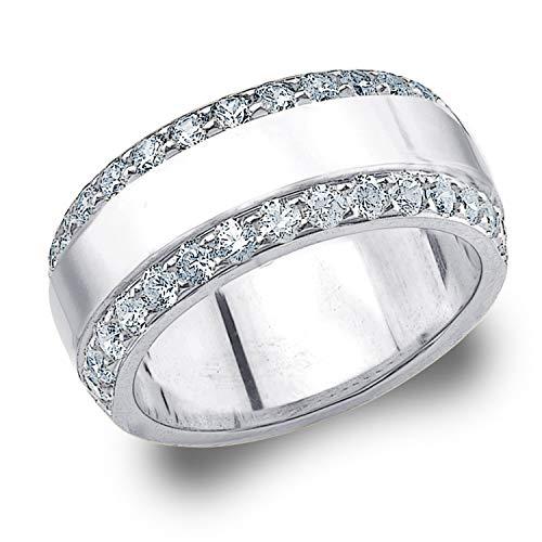 - 1CT Genuine Diamond Ring for Women, Wide 2-Row Diamond Wedding Band in 10K White Gold, Finger Size 8