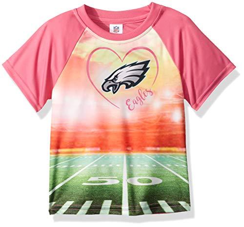 (NFL Philadelphia Eagles Girls Short-Sleeve Tee, Pink,)