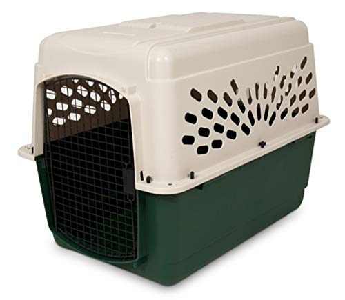 (Petmate Ruffmaxx Travel Carrier Outdoor Dog Kennel 360-degree Ventilation Almond/Green 6 sizes)
