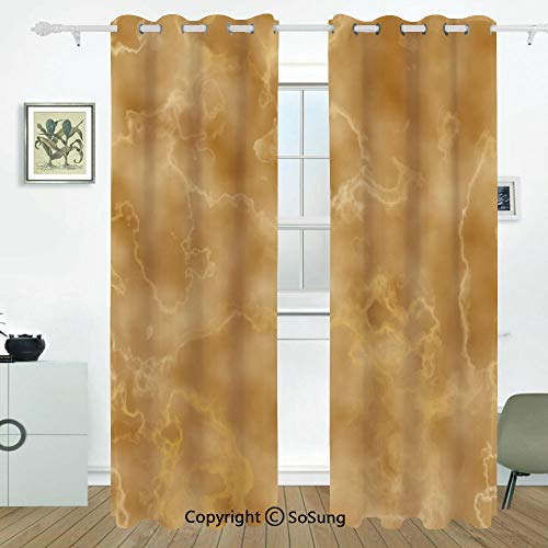 Marble Grommet Blackout Window,Cloudy Granite Natural Crystal Rock Formation Motif Earthen Tones Print,for Bedroom&Living Room&Patio Sliding Doors,2 Panels Set,108 X 96 Inches,Light Coffee Brown