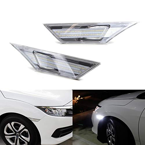 iJDMTOY Clear Lens White Full LED Front Side Marker Light Kit For 2016-up Honda Civic, Powered by 90-SMD LED, Replace OEM Sidemarker Lamps