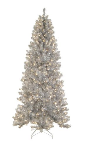(Allstate Pre-Lit Silver Tinsel Noble Pine Artificial Christmas Tree with Clear Lights, 7.5')