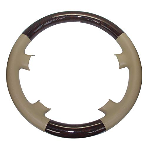 Pursuestar Tan Leather Brown Wood Steering Wheel Protector Cover Cap for Mercedes Benz 1995-1999 W210 S210 E Class E300 E320 E420 E430 E50 and 1993-2000 W202 S202 C Class C230 C220 C280