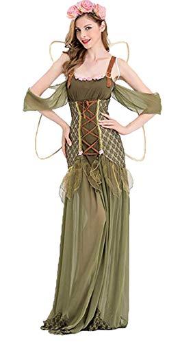 Women Angel Elf Costume Halloween Flower Fairy Fantasia Fancy Dress Adult Forest Princess Gown (Medium) Green -