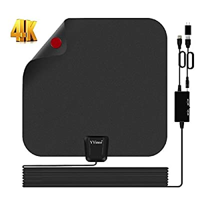 TV Antenna Indoor,HDTV Antenna TV Digital HD 4K,80 Miles Range Max,with Powerful Amplifier Signal Booster and 16.5ft Coax Cable,2018 Newest