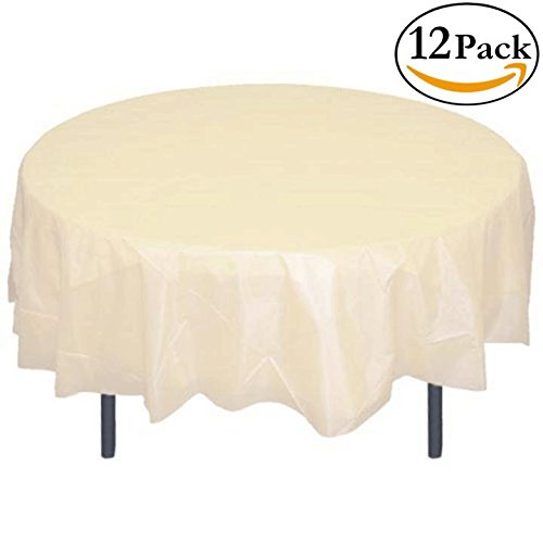 Exquisite 12-Pack Premium Plastic 84-Inch Round Tablecloth, Ivory ()