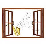 SCOCICI Removable Wall Sticker/Wall Mural/Jazz Music Decor,Illustration of Wavy Music Tune from Saxophone