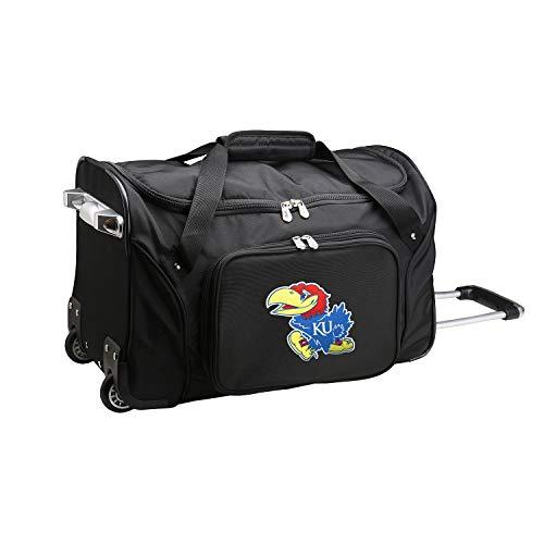 NCAA Kansas Jayhawks Wheeled Duffle Bag, 22 x 12 x 5.5, Black