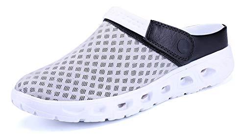 Yooeen Mens Womens Mesh Sandals Garden Clog Shoes Breathable Summer Indoor Outdoor Slippers Lightweight Walking Beach Sports Sandals, Grey+black, 10 M US Women / 8.5 M US Men
