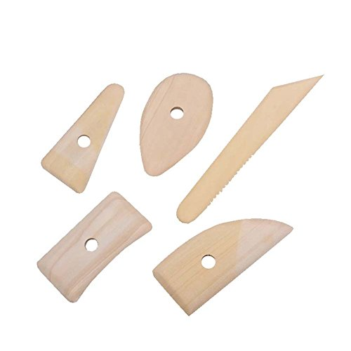 ANJUY Wooden Potter Ribs Crafts,5PCS Skeleton Knife Clay Pottery Ceramics Sculpting Modeling Clay Crafts,2 Sets -