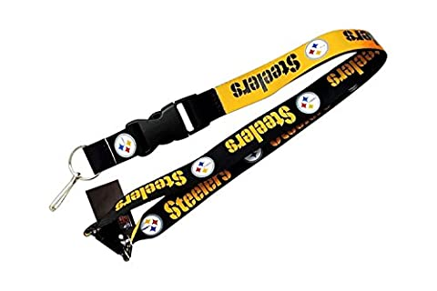 Pittsburgh Steelers Collegiate Sports Team Logo Reversible Clip Lanyard Keychain Id Ticket Holder - Pittsburgh Steelers Logo Nylon