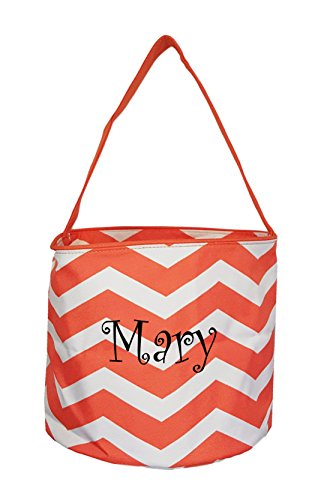Custom Personalized Halloween Bag Trick or Treat Tote Bag - Storage Bucket Basket (Personalized Orange Chevron)