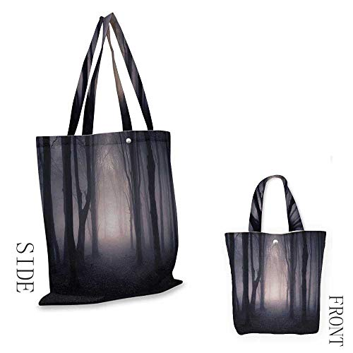 Shopping Bags for Home & Kitchen Forest Path Through Dark Deep in Forest with Fog Halloween Creepy Twisted Branches Picture Eco-Friendly ReusablePink Brown]()