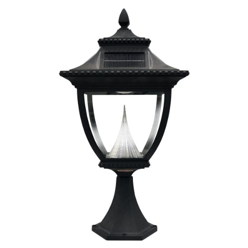 (Gama Sonic GS-104P Pagoda Pier Light Outdoor Solar Lamp, Flat Mount, Bright White LED, Black)