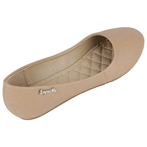 Stiefelparadies Klassische Damen Ballerinas Glitzer Slipper Übergrößen Leder-Optik Schuhe Denim Slip Ons Flats Schlupfschuhe Flandell Khaki Glatt
