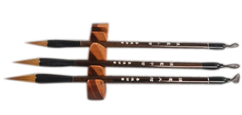 3 PCS Professional Chinese Calligraphy Drawing Brush Set, Wolf Hair(Deep Brown) Panda Superstore PS-OFF12897431-KARY00454