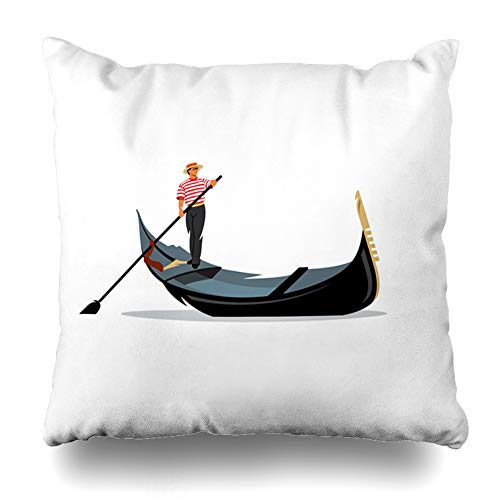 Pandarllin Throw Pillow Cover Taxi Italy Venice Gondola Gondolier Rowing Travel Oar Italian Boat White Love Cushion Case Home Decor Design Square Size 18 x 18 Inches Pillowcase (Old Man And The Sea Boat Name)
