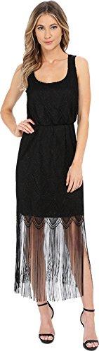 Jessica Simpson Women's Metallic Lace Fringe Dress Black Dress 14