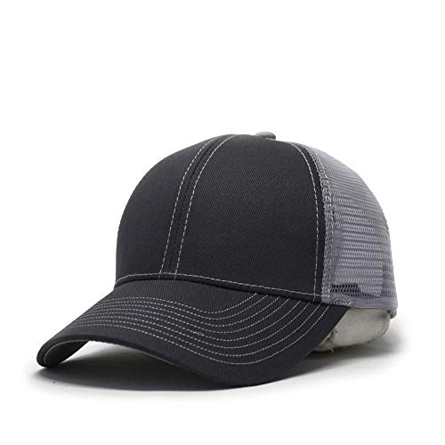 Vintage Year Plain Cotton Twill Mesh Adjustable Trucker Baseball Cap (CharcoalGray/CharcoalGray/Gray) -