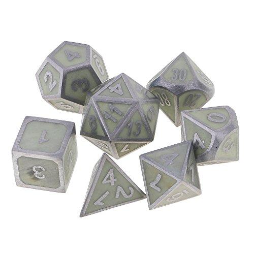 Jiliオンラインパックof 7亜鉛合金Polyhedral Noctilucence Dice forパーティーボードカードゲームグローin theダークの商品画像