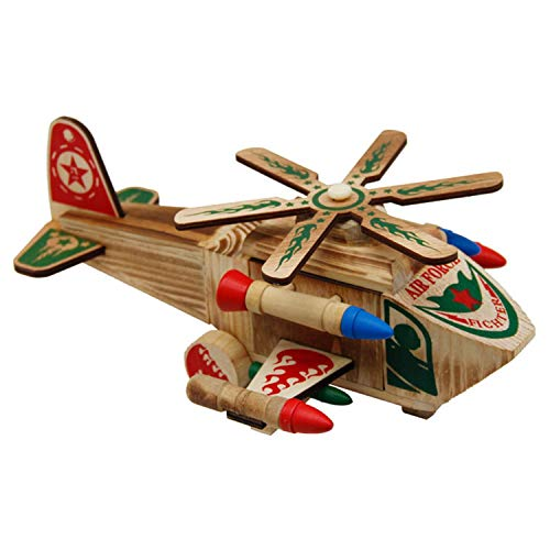 Aelove Wooden Helicopter Simulation Wooden Aviation Model Toy Decoration Ornaments Toys Airplane & Jet Kits