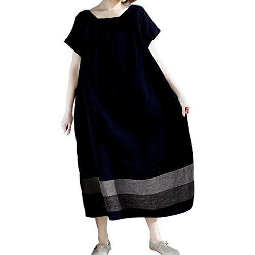 iQKA Women Plus Size Casual Loose Cotton Linen Short Sleeve Oversized Soft Long Dress(Navy,XXXX-Large