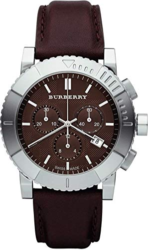 Burberry Trench Luxury Mens Unisex Womens Chronograph Watch Brown Leather Band Brown Engraved Date Dial BU2307
