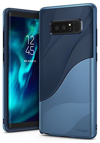 Ringke [Wave] Compatible with Galaxy Note 8 Case [Upgraded Version] [Coastal Blue] Dual Layer Heavy Duty Textured Shock Absorbent PC TPU Full-Body Drop Resistant Protection Ergonomic Design Cover