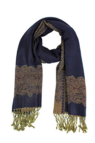(Paskmlna Border Pattern Double Layered Reversible Woven Pashmina Shawl Scarf Wrap Stole (#04navy blue) )