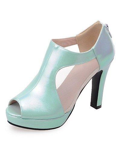 ZQ Zapatos de mujer-Tac¨®n Robusto-Tacones / Punta Abierta-Sandalias-Casual / Fiesta y Noche-Semicuero-Negro / Rosa / Blanco / Verde Oscuro , pink-us9 / eu40 / uk7 / cn41 , pink-us9 / eu40 / uk7 / cn4 white-us8 / eu39 / uk6 / cn39