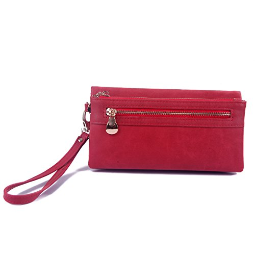 HDE Womens Soft Leather Wallet Multi-Function Zipper Clutch Wristlet (Red)