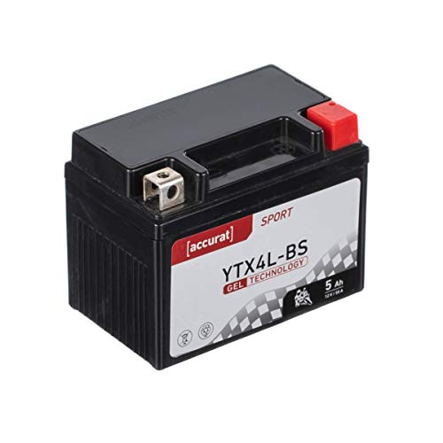 Accurat motorfietsaccu YTX4L-BS 5Ah 55A 12V gel-technologie startaccu in OEM-kwaliteit cyclusvast veilig opbergbaar…
