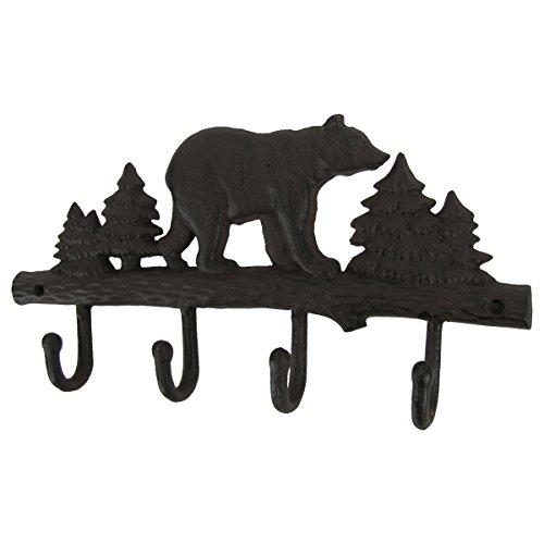 Metal Wall Mount Black Bear Hook 4 Hooks Key Ring Organizer Hat Holder Coat Rack by TG,LLC