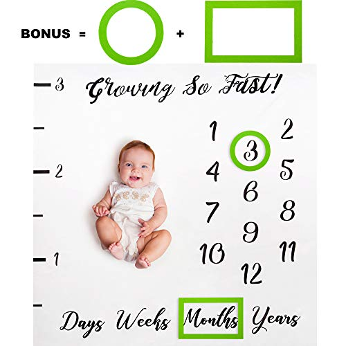 Baby Monthly Milestone Blanket for Girl Boy/with 2 Free Month Frames/Soft Newborn Photo Prop Blanket/Unique Baby Shower Gift for New Moms/Months Blanket/Watch Me Grow/Baby Blanket with Months