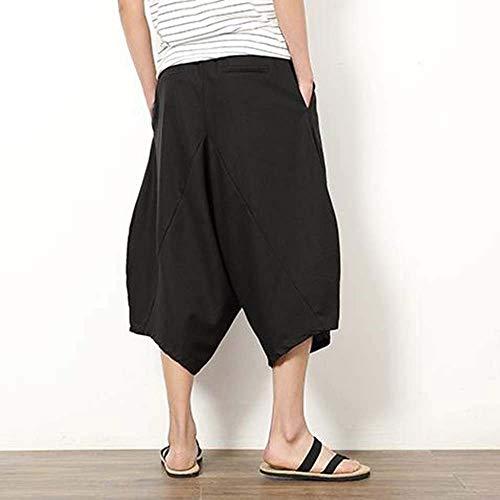 Lino Skinny Solido Dei Rigonfio Casual Con Pantaloni Aladin Di Spiaggia Harem Uomini Nero Svago Cavo Colore Moda Estivi Lungo xPXAf