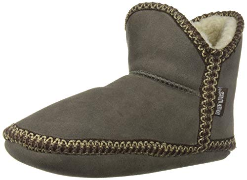 (MUK LUKS Womens Maddy Amira Slippers with Faux Sherpa Lining, Grey, M (7-8))