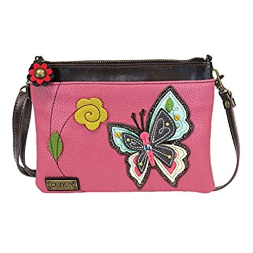 Chala Mini Crossbody Handbag, Multi Zipper, Pu Leather, Small Shoulder Purse Adjustable Strap - Butterfly - Pink