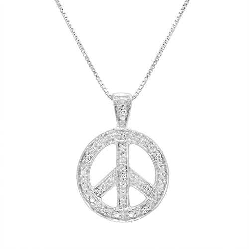 (Diamond Peace Sign Pendant-Necklace in Sterling Silver on an 18in Box Chain)