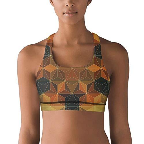 UniqueBRA Dimetric Foursquare Print Yoga Sports Bras for Womens Breathable Fitness Yoga Bra